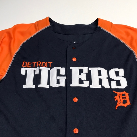 DETROIT TIGERS Mens Large Button Up Jersey Shirt